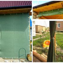"""Брезентовые шторы с комплектом крепежа для веранды загородного дома (замер-монтаж """"под ключ"""" выполнен нашими специалистами)"""