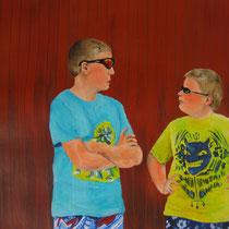 Two of a Kind (2014, Acryl/Papier, 49x63 cm)