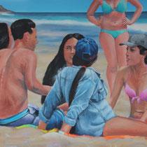 On the Beach (2016, Acryl auf Leinwand, 70x100 cm)