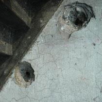 階段に有る弾痕は貫通していた。 生き残った人々は私たちが想像もできないその日の光景を覚えている。