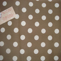 Pois blancs fond taupe