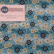 Fleurs stylisées bleu/vert