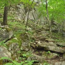 寝釈迦手前の岩山登り