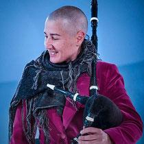 Mercedes Peon. Galician bagpipe player.