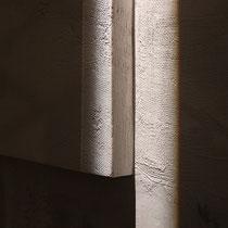 particolare, di Taccuino di viaggio, cm.230x 120, fogli di giornale con microcemento su pannelodi legno.