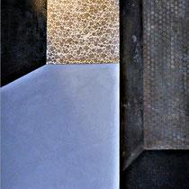 composizioni, cm.230x 120,resina e cemento su pannello di legno.