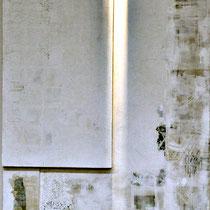 taccuino di viaggio, cm.230x 120, fogli di giornale con microcemento su pannello di legno. Bagnoli Arredamenti