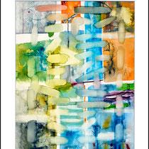 """""""Revues relues 8"""" - aquarelle sur papier Hahnemühle 40 cm x 50 cm"""