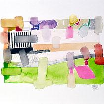 """""""Revues relues 13"""" - aquarelle sur papier Hahnemühle 45 cm x 30 cm"""