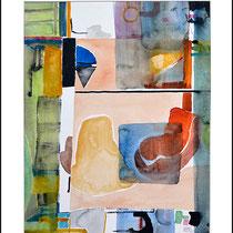 """""""Revues relues 5"""" - aquarelle sur papier Hahnemühle 50 cm x 40 cm"""