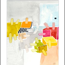 """""""Revues relues 10"""" - aquarelle sur papier Hahnemühle 40 cm x 50 cm"""