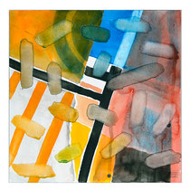 """""""Revues relues 14"""" - aquarelle sur papier Hahnemühle 30 cm x 30 cm"""