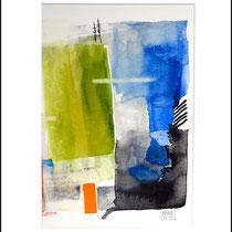 """""""Revues relues 12"""" - aquarelle sur papier Hahnemühle 40 cm x 30 cm"""