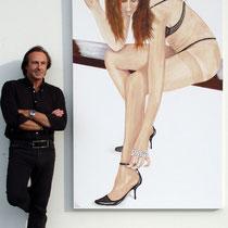 """""""Elégance"""" 2010 Acrylique sur toile 200 x 120cm - La cigarette est en bois."""