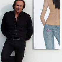 """ Left back"" 2009 Acrylic on canvas 150 x 50cm - A real € 500 note which sticks out of the jeans pocket."