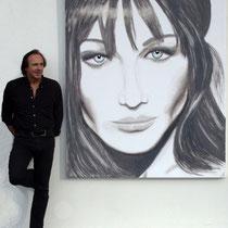 """""""Carla BRUNI"""" 2010 Acryl auf Leinewand 180 x 150cm - Diese Porträtmalerei wurde Fran Cala Bruni Sarkozy geschenkt."""