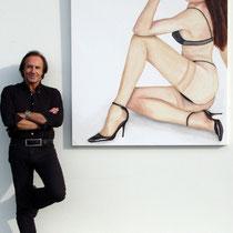 """""""Lust"""" 2010 Acryl auf Leinewand 150 x 130cm - Die Zigarette ist aus Balsaholz."""