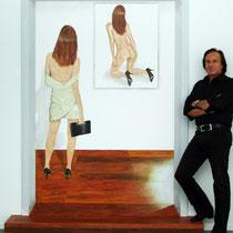 """""""Tiefe"""" 2010 Acryl auf Leinewand 235 x 180cm - Die Stufe wird mit dem Gemälde geliefert."""