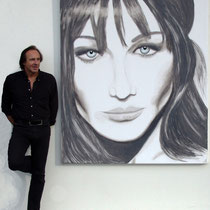 """""""Carla BRUNI"""" 2010 Acrylique sur toile 180 x 150cm - Ce portrait a été offert à mme Carla Bruni."""