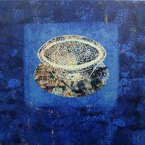"""Aus der Reihe """"Schüssel für jedermann"""", 2006 - 2007, Farblinolschnitt (Unikat) auf Seidenpapier und Leinwand, 44 x 50 cm"""