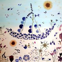 Kunstwerk aus dem Brautstrauß - vielfältige Blüten