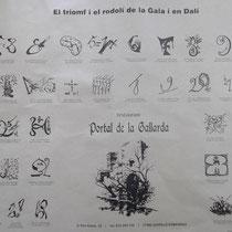 """Bilderbogen mit Zeichnungen von Dali und Versen ( """"Rodolí"""") von C. Fages de Climent. Gedeckunterlage des Restaurants Gallarda"""