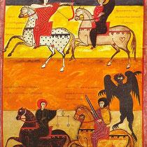 Die vier apokalyptischen Reiter (Offenbarung, Kap. 6) in einer Beatus (von Liébena)-Handschrift (Facundus/1047/ Nationabibliothek Madrid). Zwei Reiter sind deutlich als muslimische Kämpfer, zwei als christliche Gestalten gekennzeichnet.