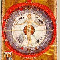 """Hildegard von Bingen schaut den """"Kosmosmenschen"""" ( aus: Buch von den göttlichen Werken"""" um 1240)"""
