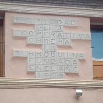 Schild an der ehemaligen Kooperative