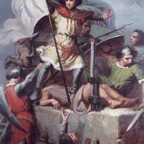 Ramon Berenguer richtet die Siegesfahne mit der Heiligen von Barcelona, Eulalia, auf (Gemälde von Fortuny, 19.Jh. / Palau de la Generalitat de Catalunya)