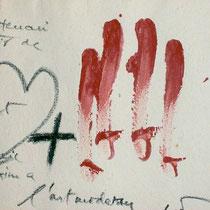 Der katalanische Künstler Antoni Tàpies gestaltet die Szene auf moderne Weise - Bild im Museum des Klosters Sant Joan de las Abadesses