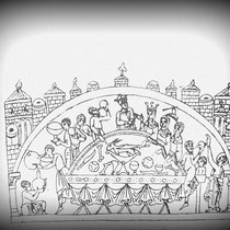 Alttestamentliches Königs-/Passahmahl - Vorbild für das letzte Mahl Christ (Biblia Sant Pere de Rodes/11. Jh. - Skizze aus: Kloster von Sant  Pere de Rodes - Führer-, Curial Edicions Catalanes, Barcelona 2002, S.48)