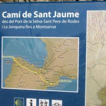Karte der Pilgerwege durch Katalonien