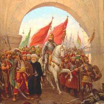 So stellt der osmanische Hofmaler Fausto Zonaro (1854-1929) den Einzug Mehmeds II. in Konstantinopel dar