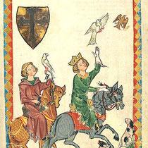 König Konradin von Hohenstaufen bei der Falkenjagd ( Manessische Bilderhandschrift, Univ.Bibliothek Heidelberg)