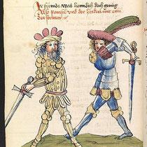 Parzival streitet mit Feirefiz, dem Heiden und unerkannten Bruder Bilderhandschrift aus dem späten Mittelalter, Universitätsbibliothek Heidelberg)