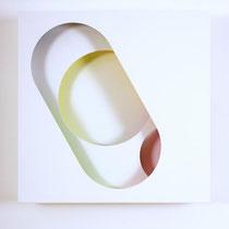 REINHARD WÖLLMER, 2020, Farbraumrelief-Weiss-Bunt Nr. 5, 44.5x44.5x9cm