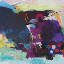 MIRJAM BAKER, Landscape No. 13, Öl, Acryl, Öl-Pastell, Pastell, Kohle, Grafit / Leinwand, 80x90cm, 2015