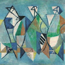 PETER PÁLFFY, Komposition (Drei Vögel), Öl / Platte, 60x80cm, 1972
