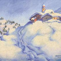 HERBERT GURSCHNER, Winterlandschaft I, Öl/Leinwand 38x43cm, 1932