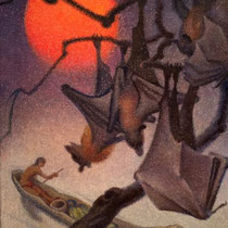 NORBERTINE BRESSLERN-ROTH, Mondaufgang, Fledermäuse, Öl auf Jute, 74x58cm, 1974