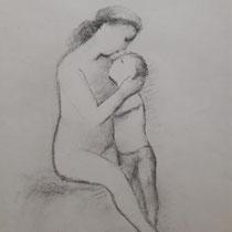 GEORG MERKEL, Mutterliebe, vor 1930, Zeichnung, Kohlestift auf Papier