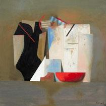 KARL KORAB, Die rote Schale, öl / Leinwand, 60x60cm, 2020