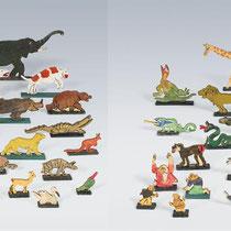 OSKAR LASKE, Die Tiere der Arche Noah, um 1925, (für Magdalena Haberditzl). 47 Holzfiguren, bemalt, H 2,5 bis 13,5cm, L 3 bis 20cm
