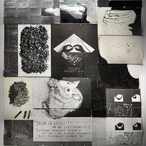 KRISTAN HORTON, TTOTM, Papier, Tinte, Folie, Schnur, Stecknadeln, Clips, 320 x 300 cm, 2019