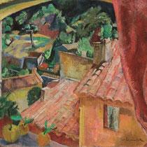 WILLY EISENSCHITZ, Blick aus dem Fenster, Öl / Leinwand, 73,8x99,7cm