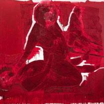 ALBANA EJUPI, o. T., Acryl, Spray, Sand, Textil / Leinwand, 210x190cm, 2020