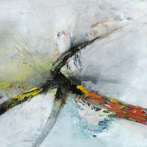 "SINASI BOZATLI, ""Grey Splash I"", Acryl auf Leinwand, 130x130cm, 2008"