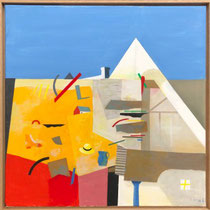 KARL KORAB, Das gelbe Dach, Öl / Leinwand, 80x80cm, 2020