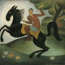 PETER PÁLFFY, Reiter, signiert, um 1925, Öl/Karton auf Platte, 43x51cm